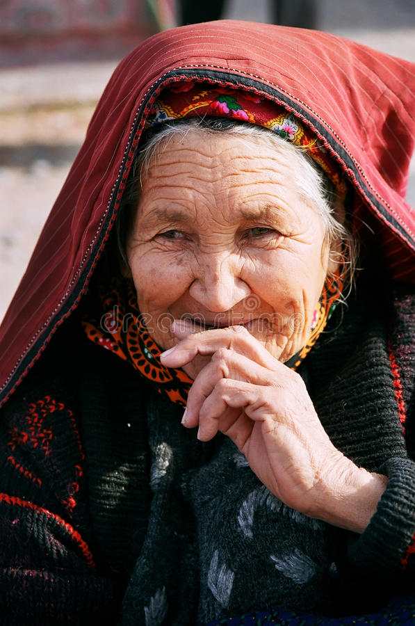 Ashgabat, Turkmenistan - July 29. Portrait of old unidentified stock photos