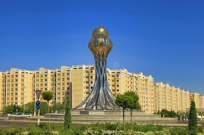 ASHGABAT, TURKMENISTAN - May 02, 2019:  Modern architecture of Ashgabat. The monument is called stock photography