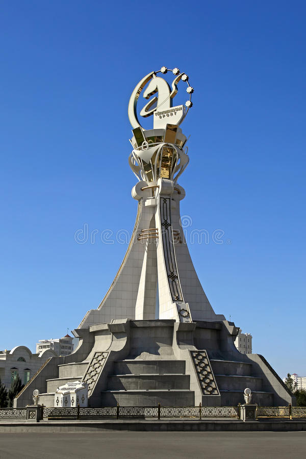 Ashgabat, Turkmenistan - October 19, 2015. Monument 5 th Asian I. Ndoor Games and martial arts, which will be held in Ashgabat (Turkmenistan) in 2017, from royalty free stock photography