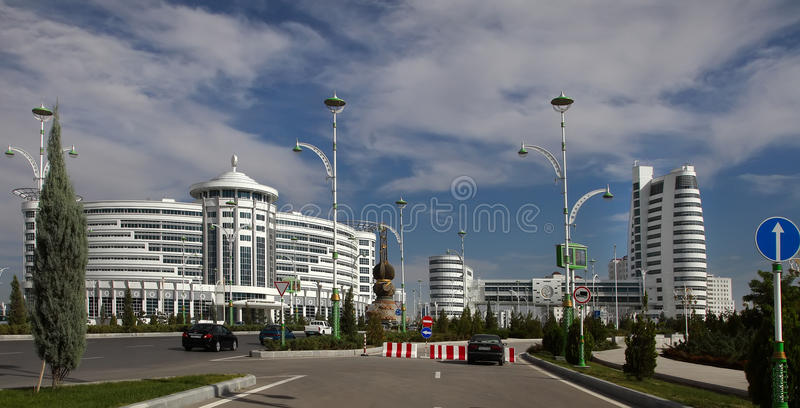 Ashgabat, Turkmenistan - October 20, 2015: Part of the sport complex. 5 th Asian Indoor Games and martial arts, which will be held in Ashgabat (Turkmenistan) stock photography