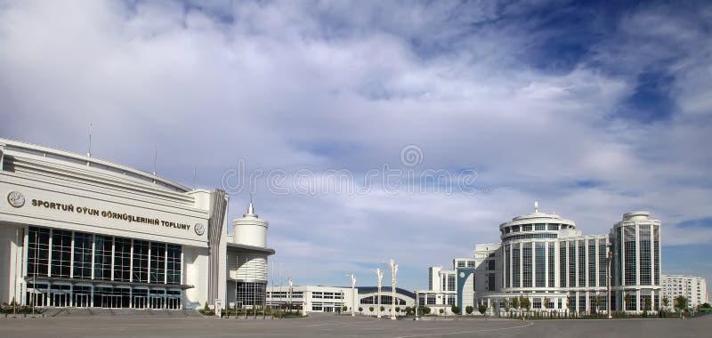 Ashgabat Turkmenistan - Oktober 20, 2015 Del av sportkomplexet arkivbilder