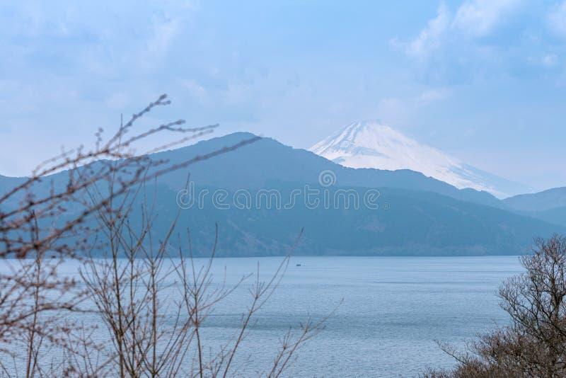 Ashinoko lake with snow cap Fuji mountain (Fujisan) , Hagone,Shizuoka,Japan stock image