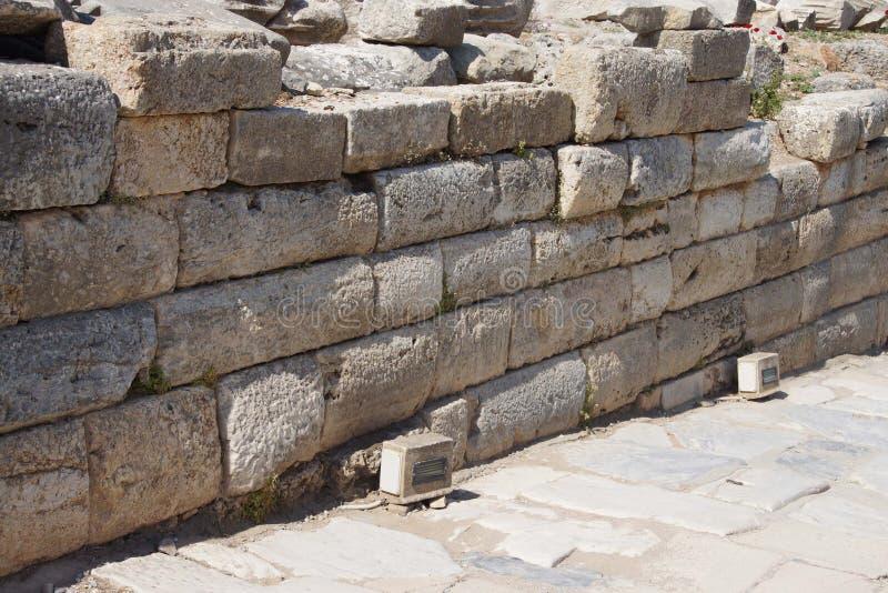 Ashlar ściana od Hellenistycznego miasta Ephesus fotografia royalty free