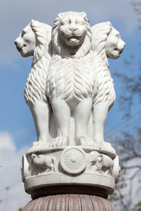 Ashoka柱子的狮子资本从鹿野苑的 免版税图库摄影