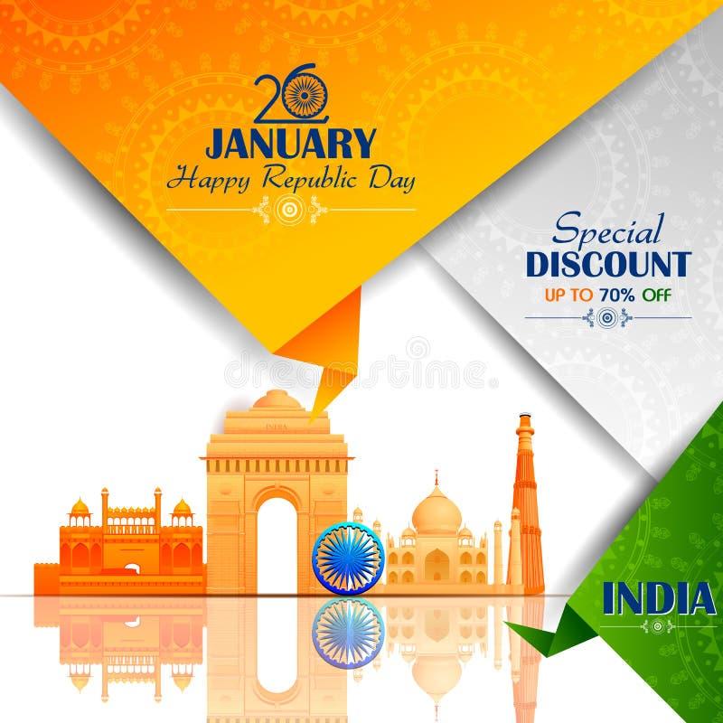 Ashoka Chakra am glücklichen Tag der Republik von Indien Salebackground stock abbildung