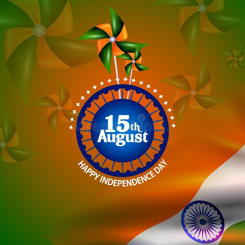 Ashoka Chakra on Happy Independence Day of India background vector illustration