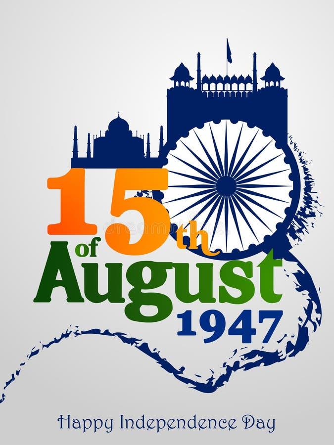 Ashoka Chakra on Happy Independence Day of India background stock illustration