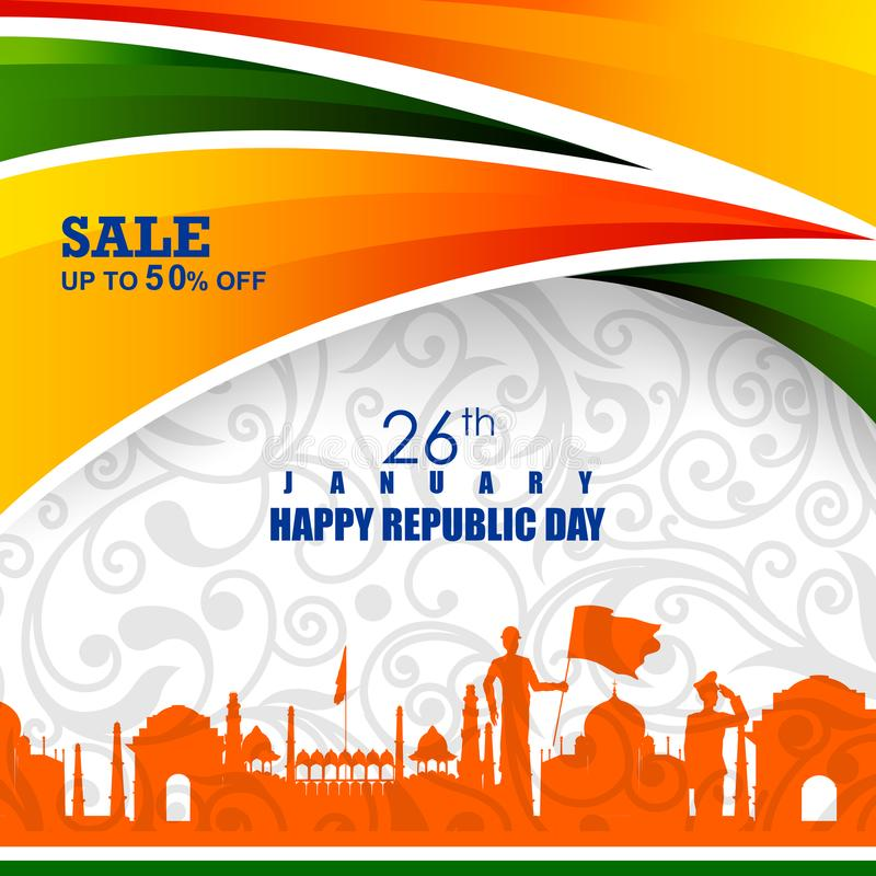 Ashoka Chakra na Szczęśliwym republika dniu India Salebackground royalty ilustracja