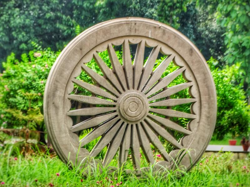Ashoka Chakra at Sarnath. The Ashoka Chakra is a depiction of the dharmachakra; represented with 24 spokes. It is so called because it appears on a number of royalty free stock images