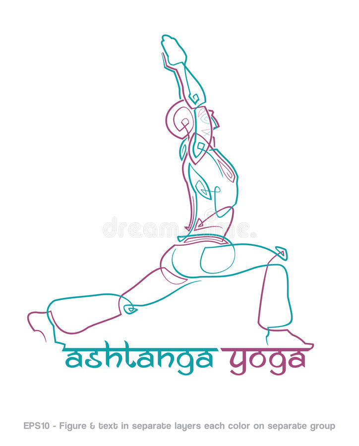 Ashtanga Yoga Logo 1. EPS10: Logo mockup for a Yoga related business. Easy to change the colors - all elements neatly on layers and Groups. Font used: Ananda royalty free illustration