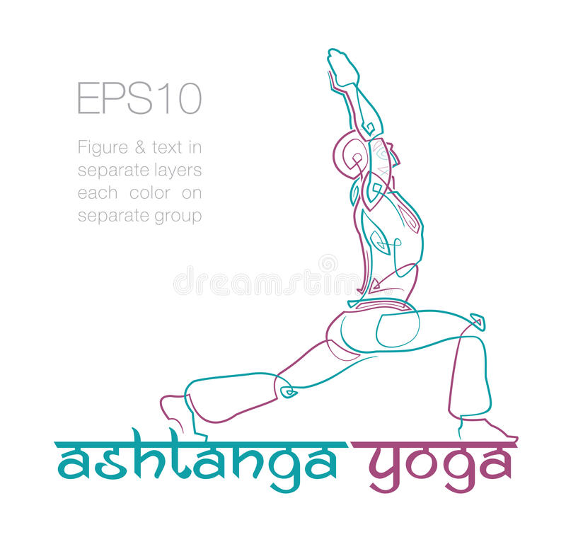 Ashtanga Yoga Logo 2. EPS10: Logo mockup for a Yoga related business. Easy to change the colors - all elements neatly on layers and Groups. Font used: Ananda vector illustration