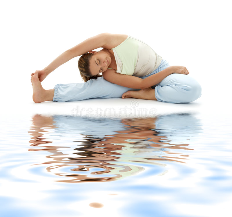 Download Ashtanga Yoga On White Sand Stock Image - Image: 4408013