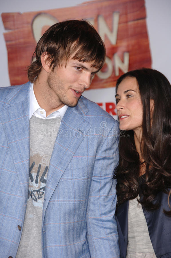 ashton demi kutcher moore 免版税库存图片