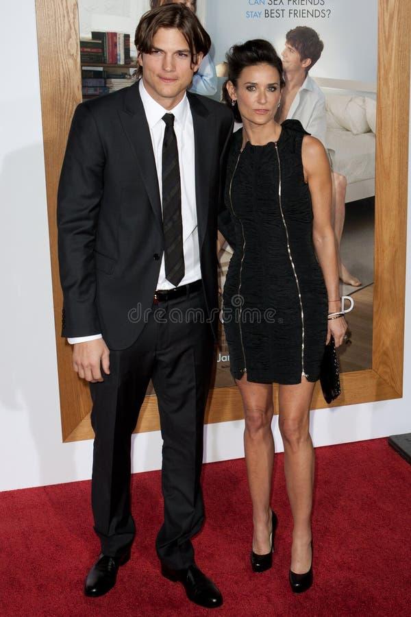 Ashton & Demi Kutcher Moore fotografia stock