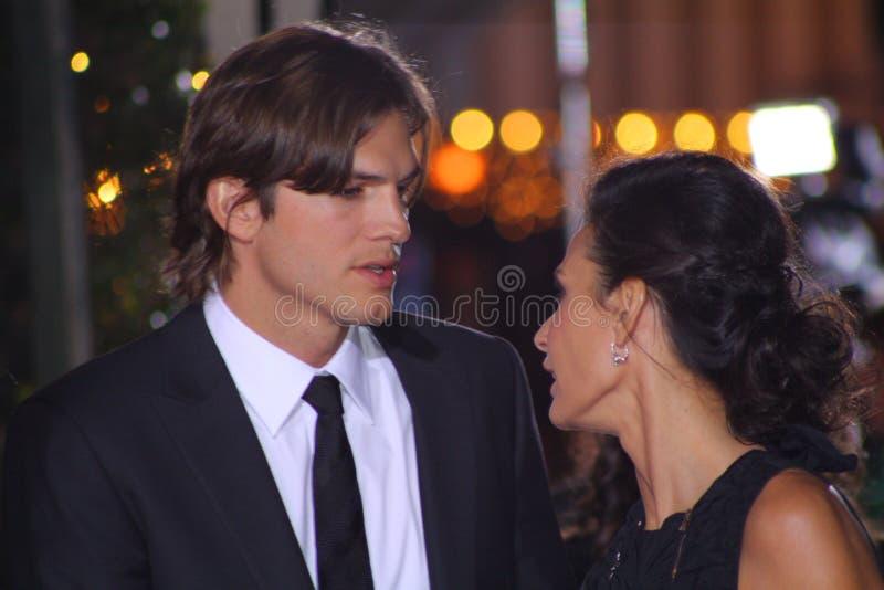 Ashton Kutcher e Demi Moore fotografia de stock