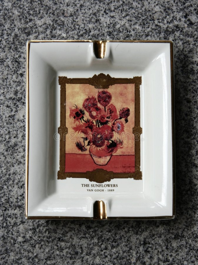 Ashtray. With Van Gogh's sunflower made in china stock photo