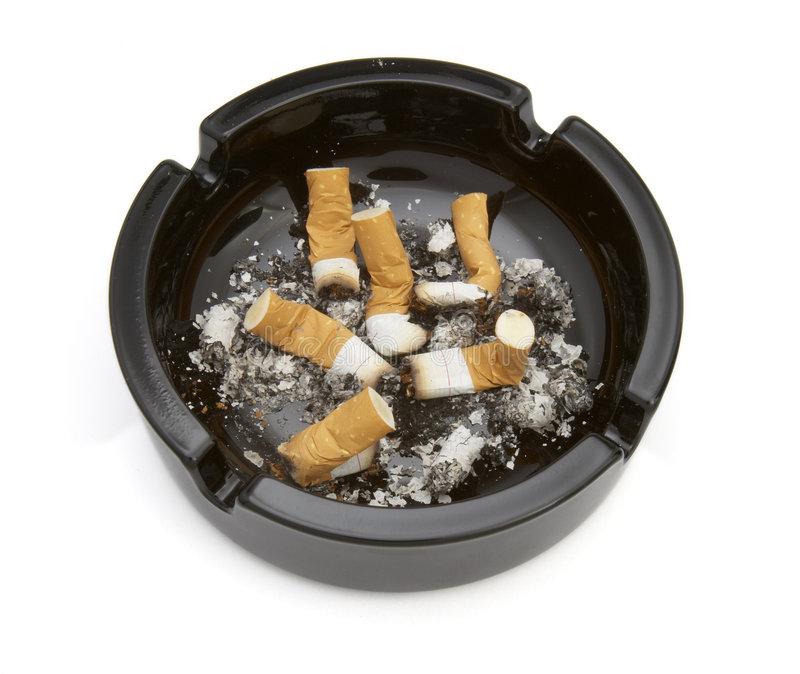 Ashtray 6. Close up of ashtray and cigarettes on white background with clipping path stock images