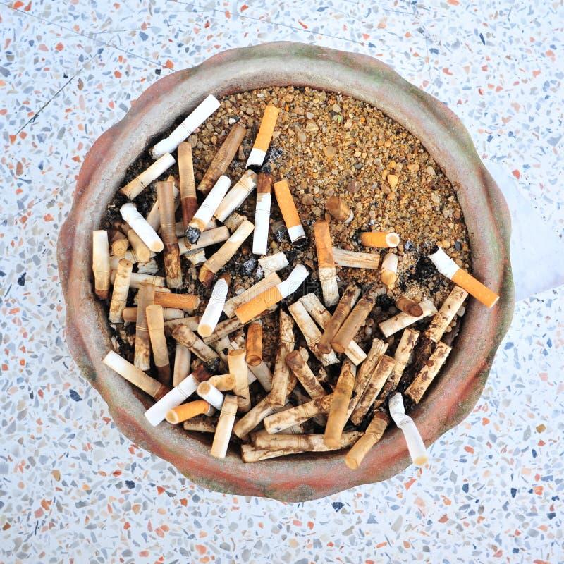 Ashtray. Bad addiction. Ashtray and cigarettes stock photos