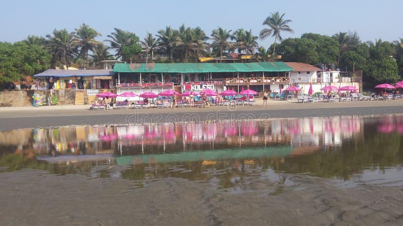 Ashwem beach cafe shack bar. Ashwem beach, Northern Goa, India. 7th of January, 2019 stock photos