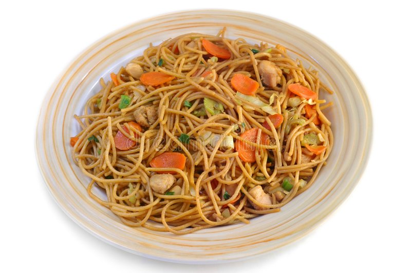 Asiático agitar-frite macarronetes fotografia de stock royalty free