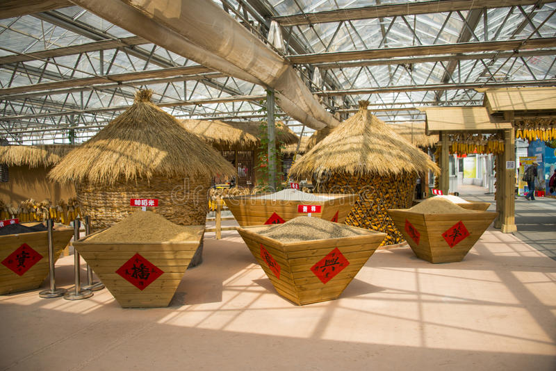Asiático carnaval de China, Pekín, agricultura, disposición del paisaje, granero fotos de archivo