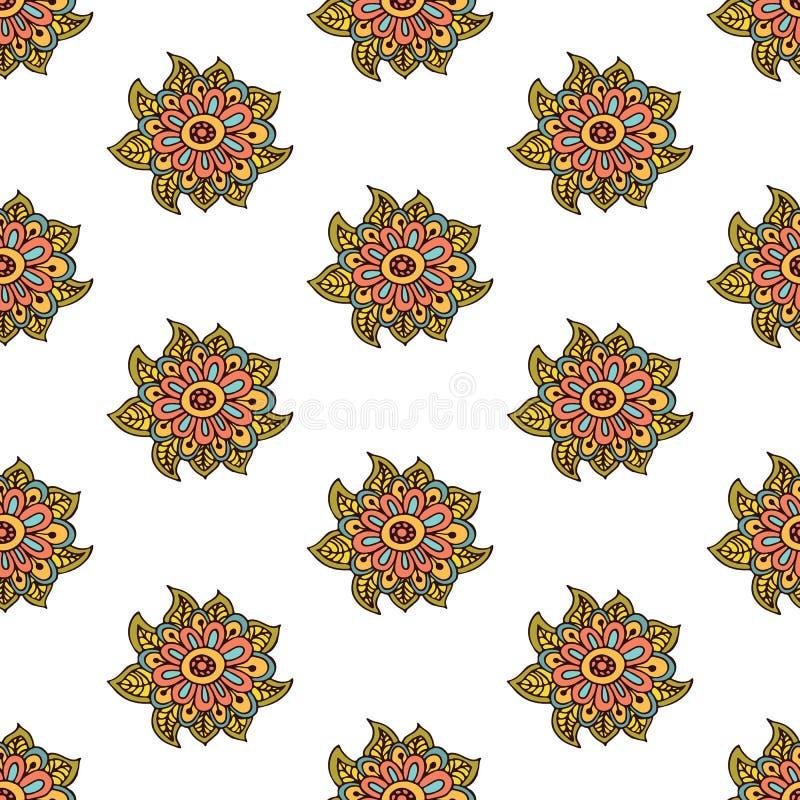 Asiático de Paisley y de la flor o indio tradicional ilustración del vector