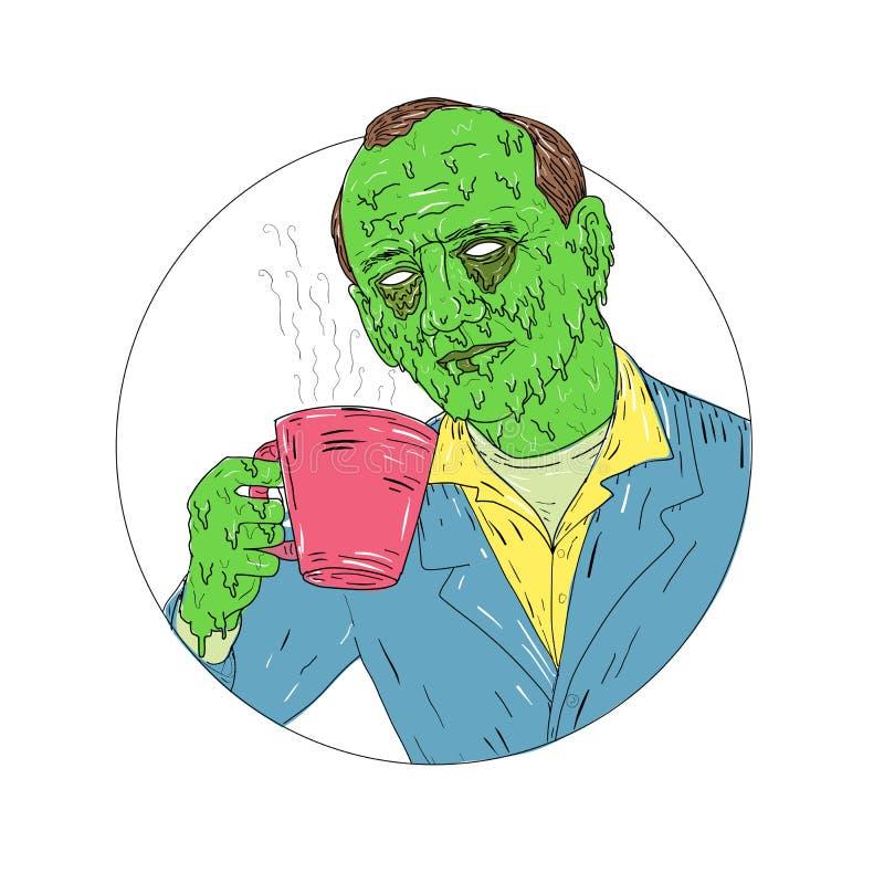 Asiático Dude Drinking Coffee Grime Art stock de ilustración