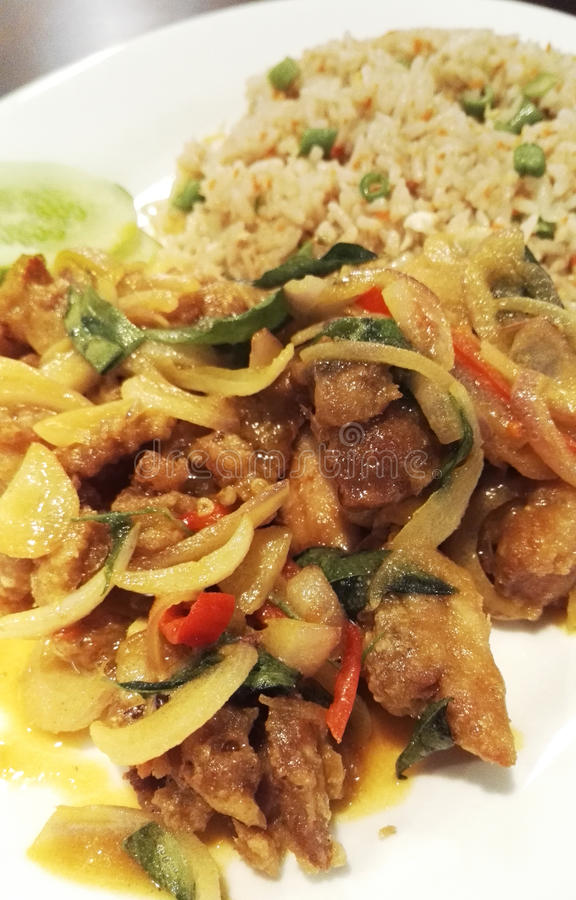 Asiático Fried Rice com o ovo salgado friável Fried Chicken imagem de stock