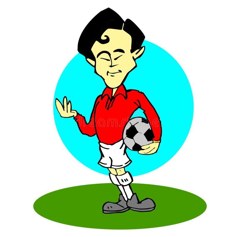Asiático, historieta del jugador de fútbol libre illustration