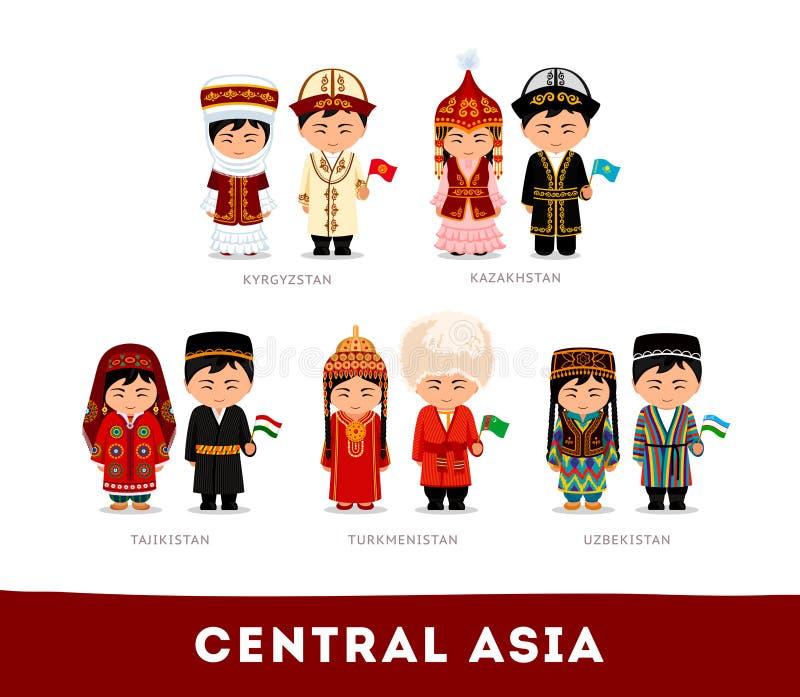 Asiáticos na roupa nacional Ásia central ilustração royalty free