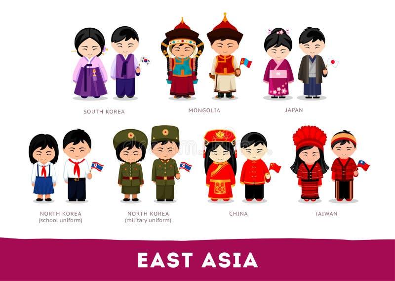 Asiáticos na roupa nacional Ásia Oriental ilustração royalty free