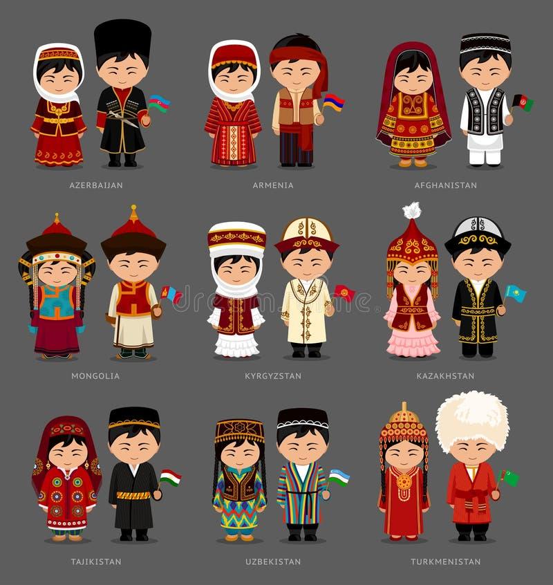 Asiáticos no vestido nacional ilustração do vetor