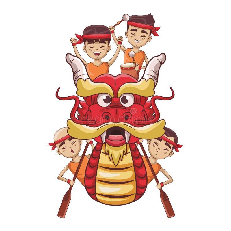 Asiáticos que se baten en el barco del dragón ilustración del vector