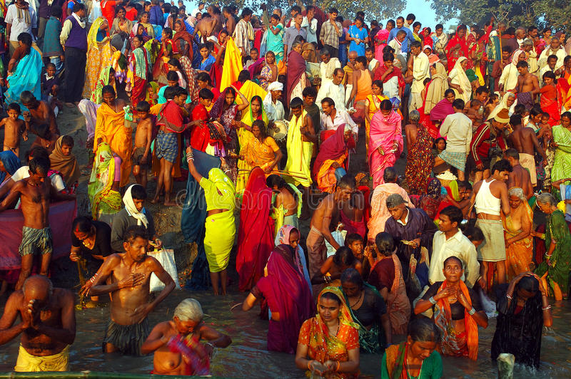 Asia's biggest cattle fair. November 13, 2008-Sonepur, Bihar, India-People bathing into the Ganges river during the Sonepur festival. The Sonepur stock image