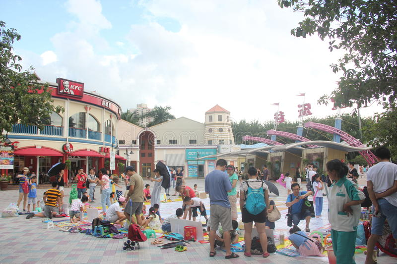 Asia,china,Shenzhen,the square interesting a. In Shenzhen Happy Valley square, the parents and children are participating in the square stock photo