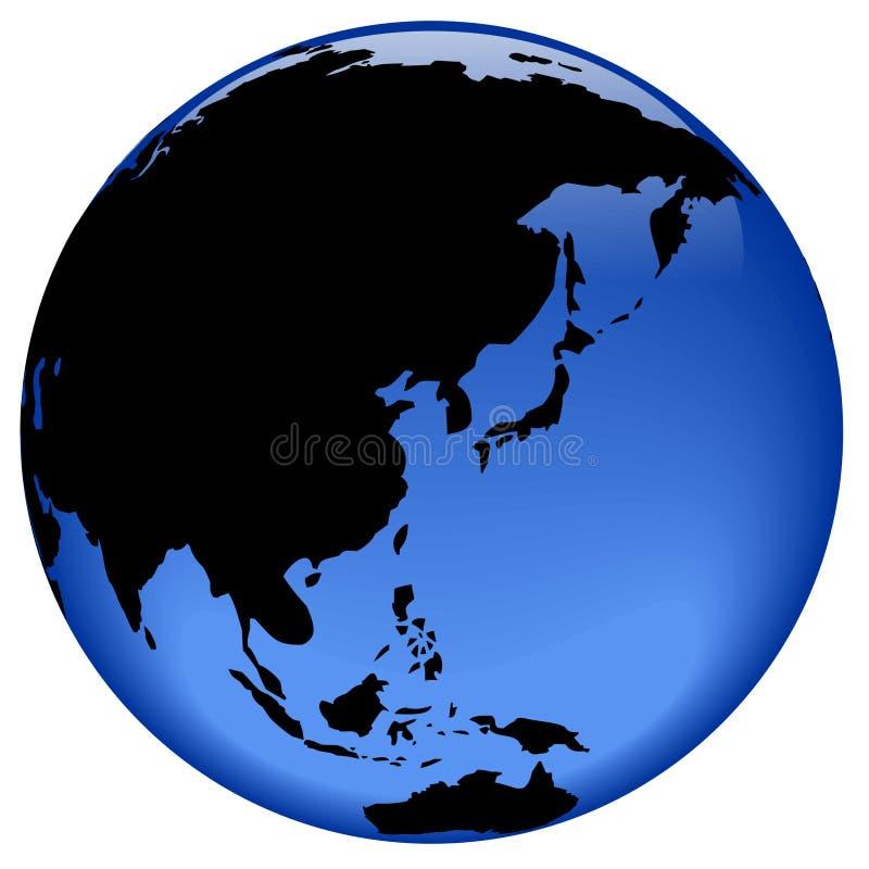 asia österut avlägsen jordklotsikt royaltyfri illustrationer