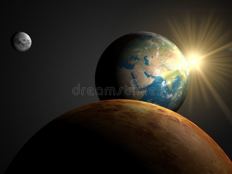 asia över soluppgång stock illustrationer