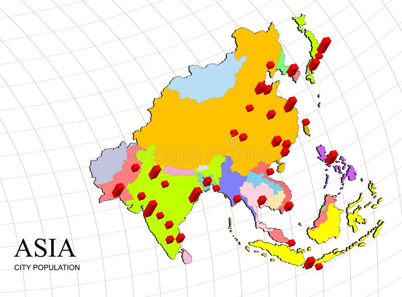 Asia 3d map with population royalty free illustration