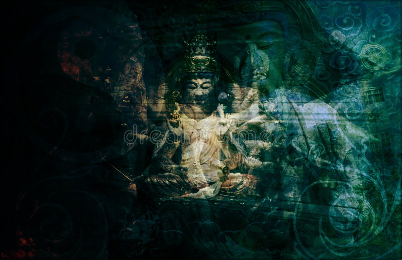 Asia. Abstract Art Buddha as a Background vector illustration