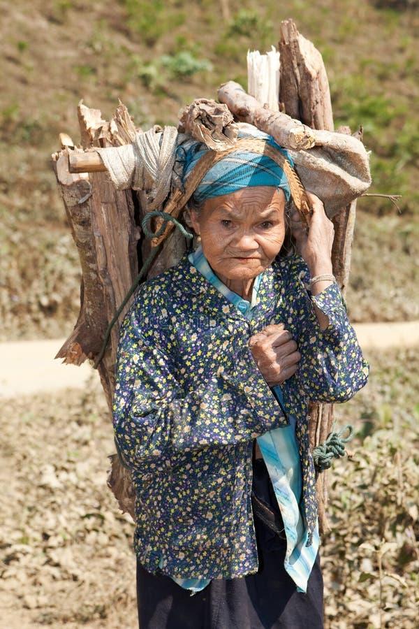 asia bär den gammala kvinnan för vedträt arkivfoton