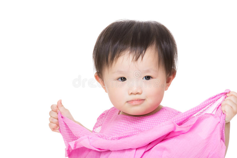 Asia baby girl portrait. Asia baby girl on white stock images