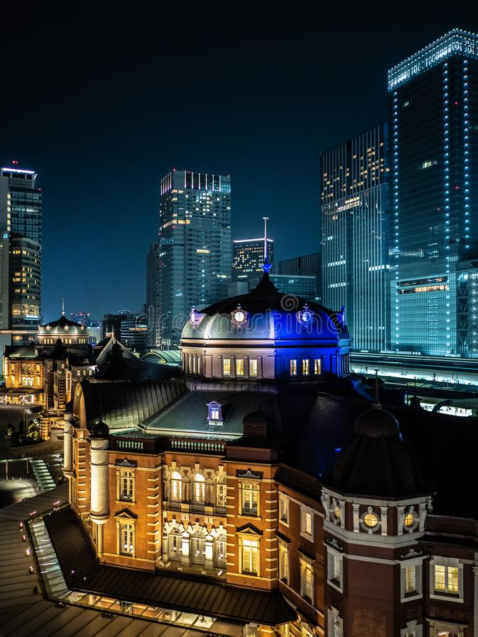 Asia business concept for real estate and corporate construction - panoramic urban city skyline aerial view with neon lights at. Night. Tokyo, Japan cityscape royalty free stock image