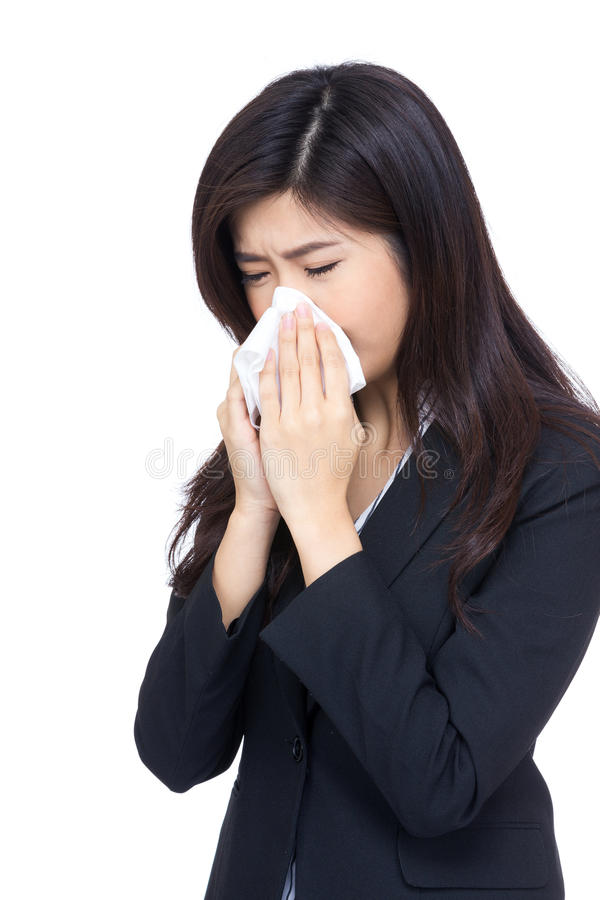 Asia business woman sneeze royalty free stock image