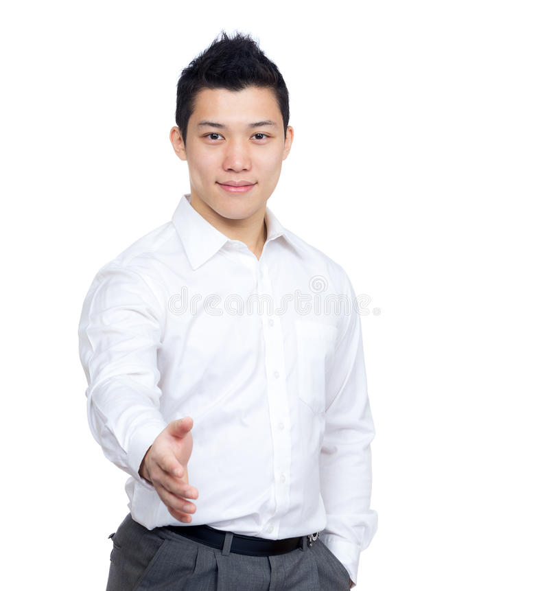 Asia businessman giving hand stock photo
