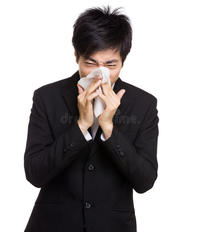 Asia businessman nose allergy royalty free stock image