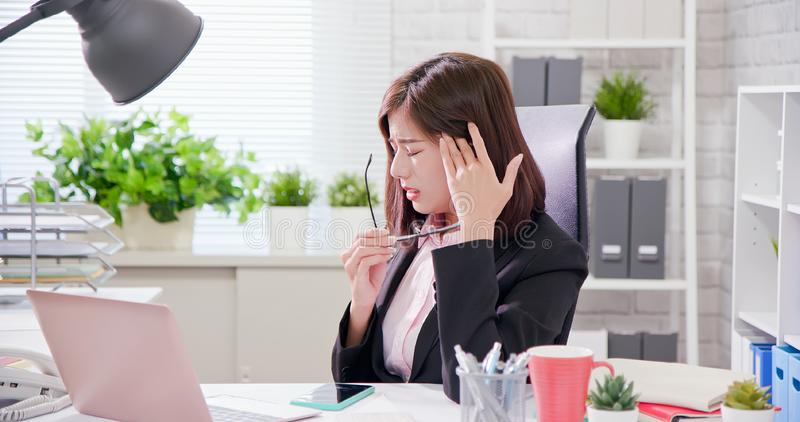 Asia businesswoman overwork stock photography