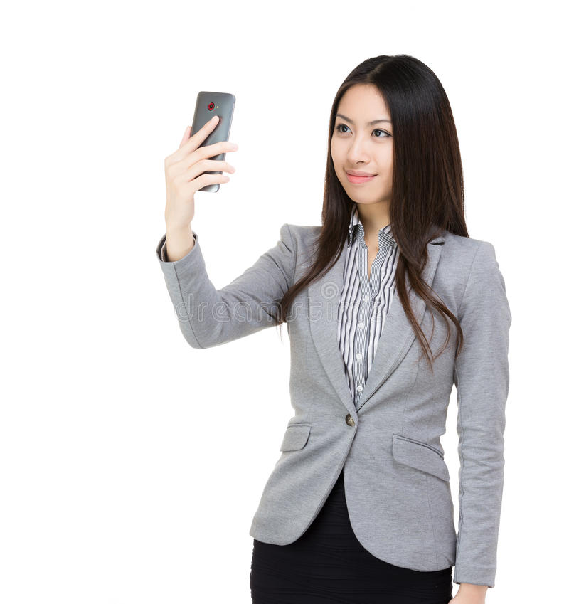 Asia businesswoman selfie stock images