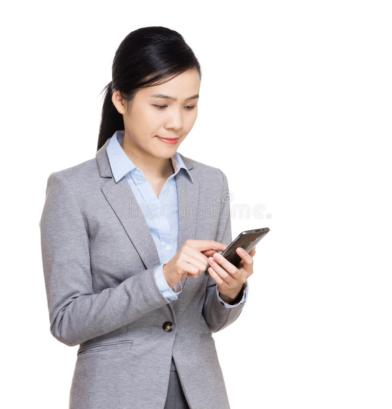 Asia businesswoman using mobile royalty free stock images