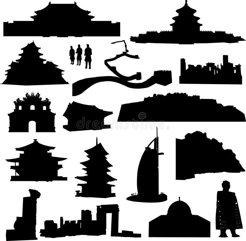 asia byggnad som gott vets royaltyfri illustrationer