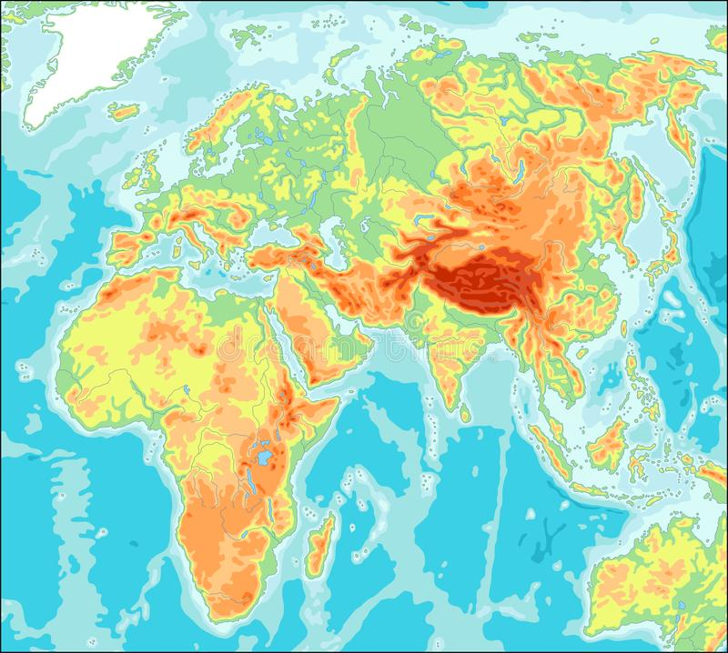 Asia centró el mapa del mundo físico libre illustration